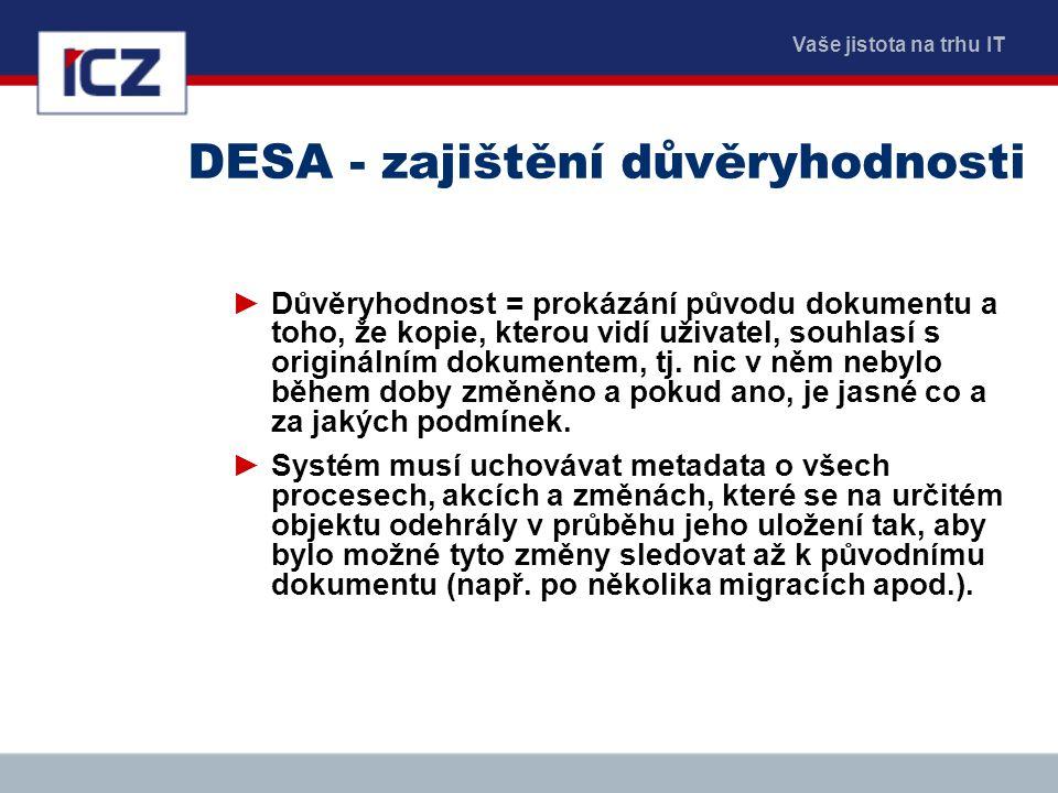 Vaše jistota na trhu IT DESA - zajištění důvěryhodnosti ►Důvěryhodnost = prokázání původu dokumentu a toho, že kopie, kterou vidí uživatel, souhlasí s