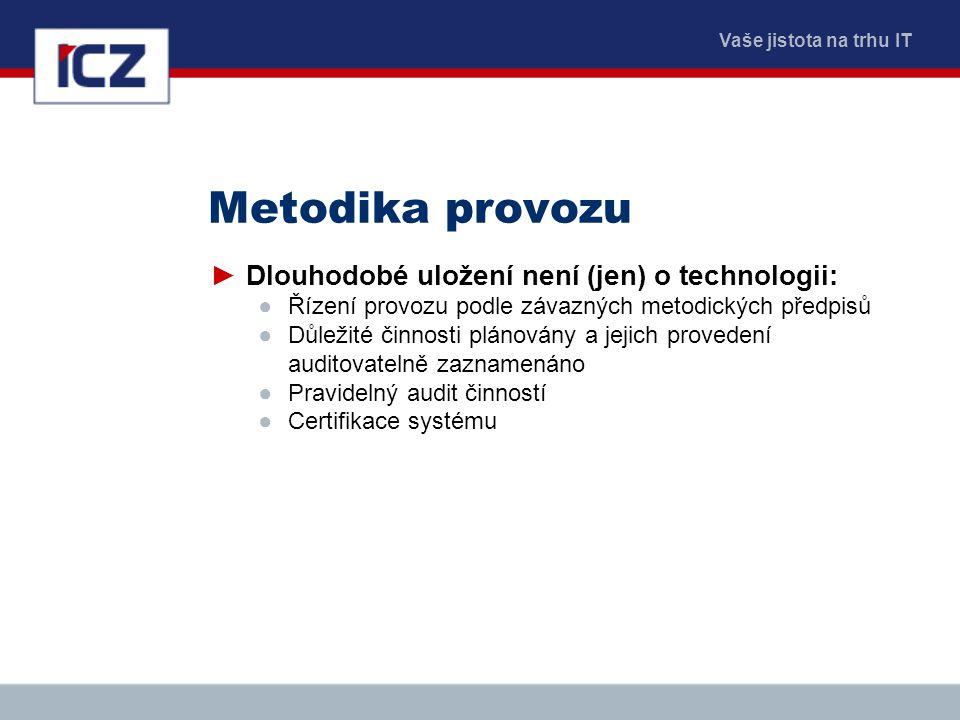 Vaše jistota na trhu IT Metodika provozu ►Dlouhodobé uložení není (jen) o technologii: ●Řízení provozu podle závazných metodických předpisů ●Důležité
