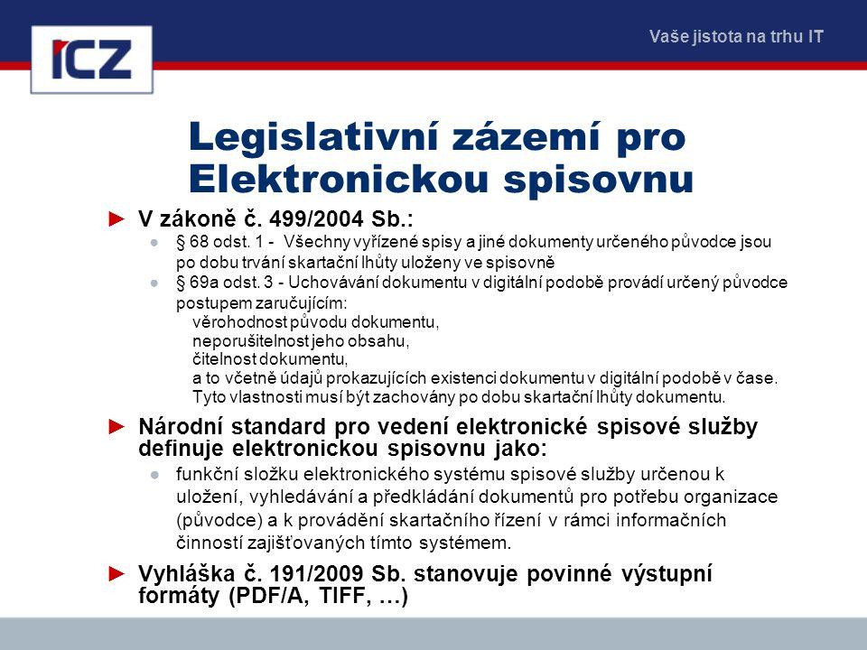 Vaše jistota na trhu IT Legislativní zázemí pro Elektronickou spisovnu ►V zákoně č. 499/2004 Sb.: ●§ 68 odst. 1 - Všechny vyřízené spisy a jiné dokume