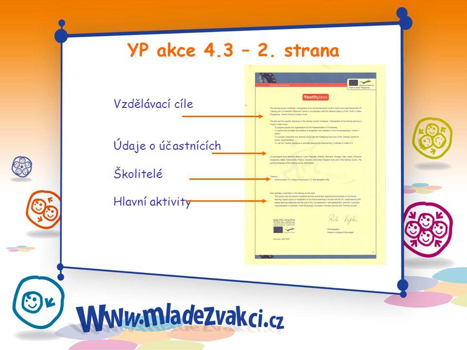 YP akce 4.3 – 2. strana Vzdělávací cíle Údaje o účastnících Školitelé Hlavní aktivity