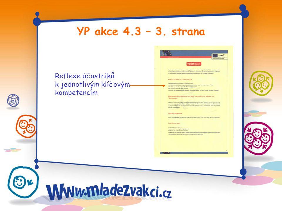 YP akce 4.3 – 3. strana Reflexe účastníků k jednotlivým klíčovým kompetencím