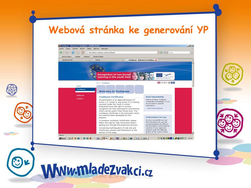 Webová stránka ke generování YP
