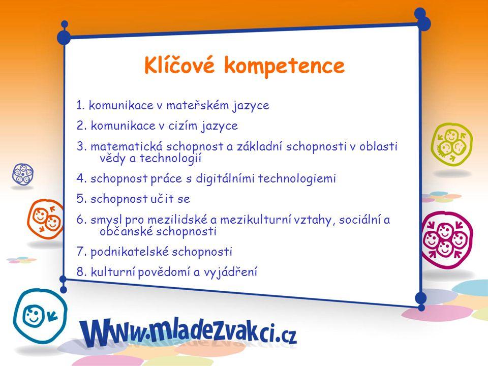 1. komunikace v mateřském jazyce 2. komunikace v cizím jazyce 3. matematická schopnost a základní schopnosti v oblasti vědy a technologií 4. schopnost