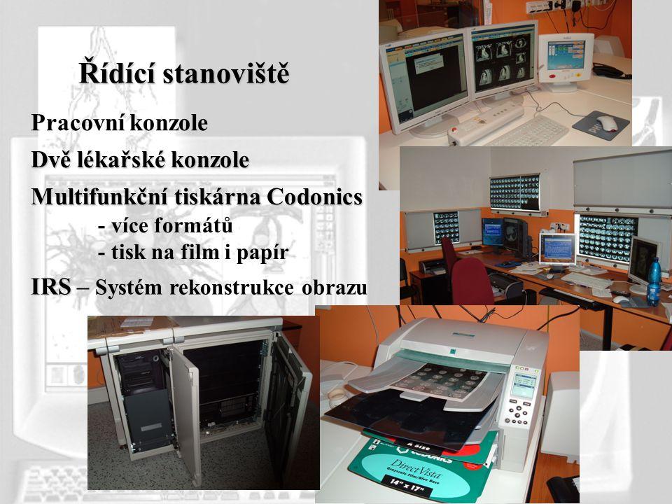 Řídící stanoviště Dvě lékařské konzole Multifunkční tiskárna Codonics - více formátů - tisk na film i papír IRS IRS – Systém rekonstrukce obrazu Praco
