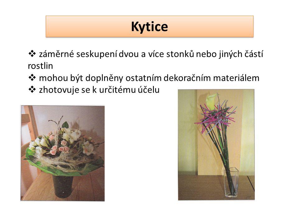 Kytice  záměrné seskupení dvou a více stonků nebo jiných částí rostlin  mohou být doplněny ostatním dekoračním materiálem  zhotovuje se k určitému účelu