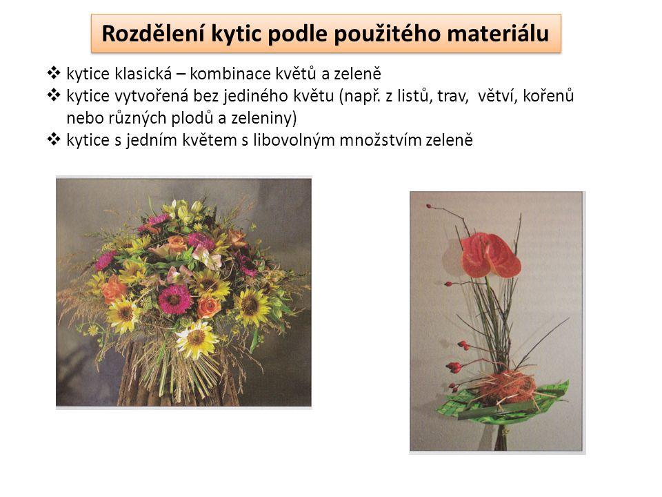  kytice klasická – kombinace květů a zeleně  kytice vytvořená bez jediného květu (např.