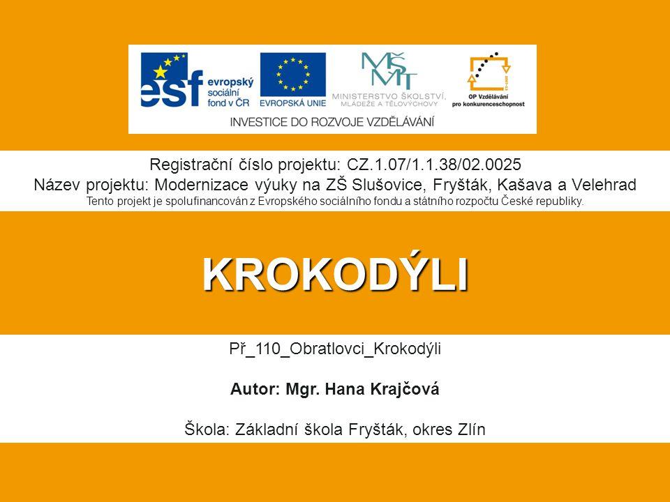 KROKODÝLI Registrační číslo projektu: CZ.1.07/1.1.38/02.0025 Název projektu: Modernizace výuky na ZŠ Slušovice, Fryšták, Kašava a Velehrad Tento proje