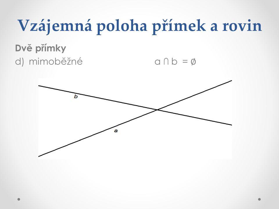 Vzájemná poloha přímek a rovin Dvě přímky d)mimoběžnéa ∩ b= ∅