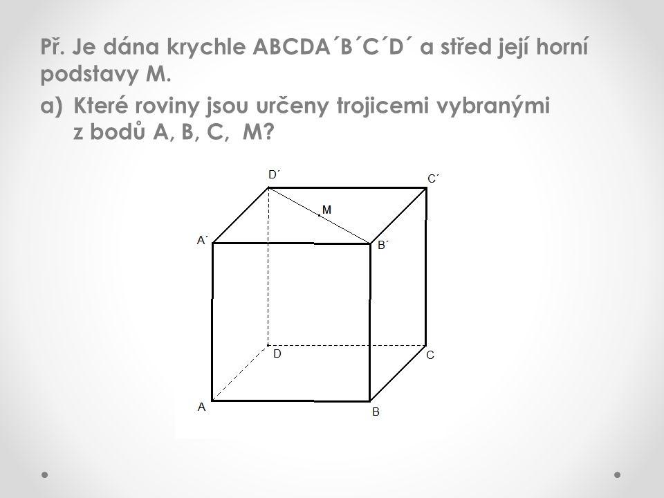 Př. Je dána krychle ABCDA´B´C´D´ a střed její horní podstavy M. a)Které roviny jsou určeny trojicemi vybranými z bodů A, B, C, M?