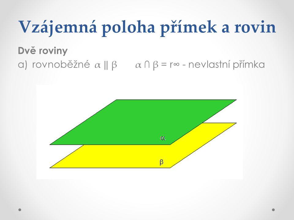 Vzájemná poloha přímek a rovin Dvě roviny a)rovnoběžné α ‖ βα ∩ β = r∞ - nevlastní přímka