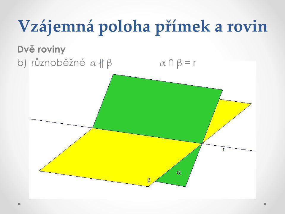 Vzájemná poloha přímek a rovin Dvě roviny b)různoběžné α ‖ βα ∩ β = r