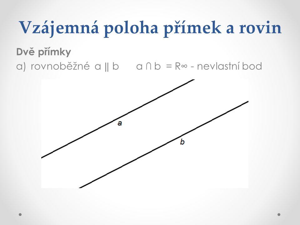 Vzájemná poloha přímek a rovin Dvě přímky a)rovnoběžné a ‖ ba ∩ b= R∞ - nevlastní bod
