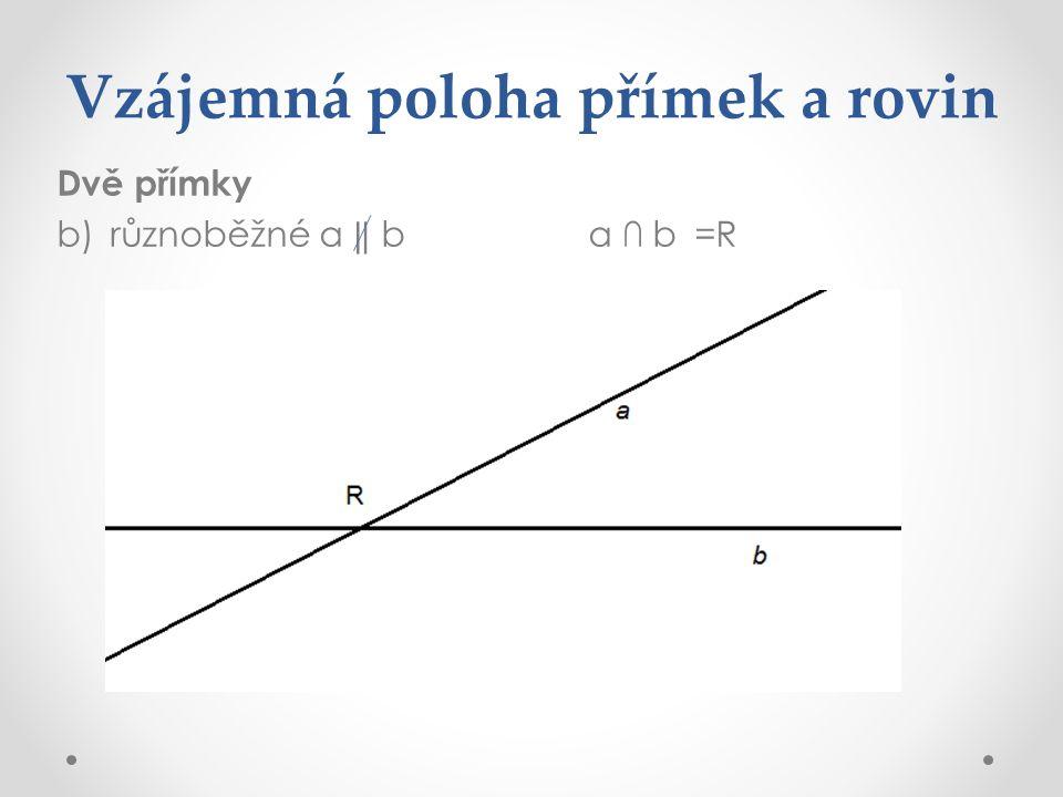 Vzájemná poloha přímek a rovin Dvě přímky b)různoběžné a ‖ ba ∩ b=R