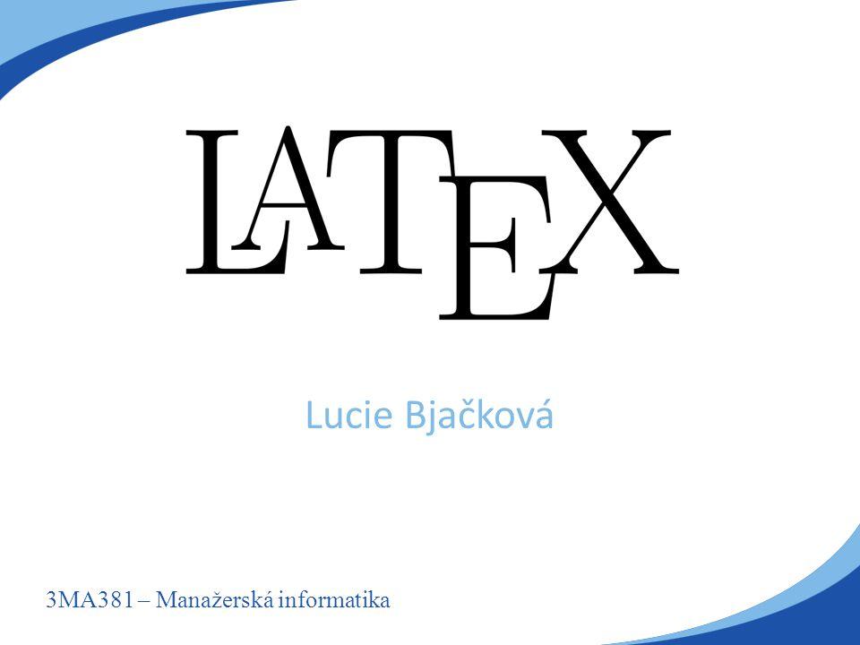 3MA381 – Manažerská informatika Lucie Bjačková