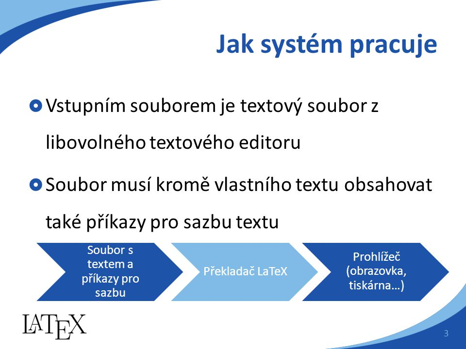 Jak systém pracuje  Vstupním souborem je textový soubor z libovolného textového editoru  Soubor musí kromě vlastního textu obsahovat také příkazy pro sazbu textu Soubor s textem a příkazy pro sazbu Překladač LaTeX Prohlížeč (obrazovka, tiskárna…) 3