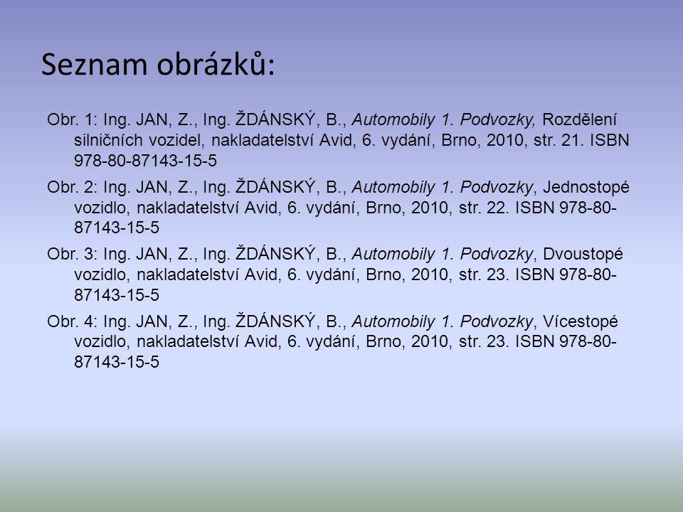 Seznam obrázků: Obr. 1: Ing. JAN, Z., Ing. ŽDÁNSKÝ, B., Automobily 1. Podvozky, Rozdělení silničních vozidel, nakladatelství Avid, 6. vydání, Brno, 20