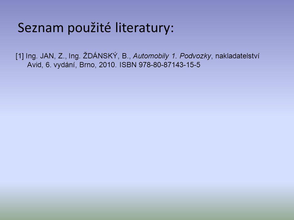 Seznam použité literatury: [1] Ing. JAN, Z., Ing. ŽDÁNSKÝ, B., Automobily 1. Podvozky, nakladatelství Avid, 6. vydání, Brno, 2010. ISBN 978-80-87143-1