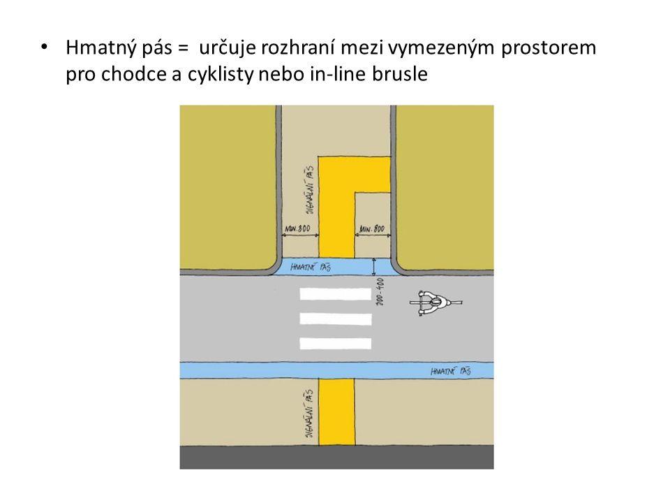 Hmatný pás = určuje rozhraní mezi vymezeným prostorem pro chodce a cyklisty nebo in-line brusle