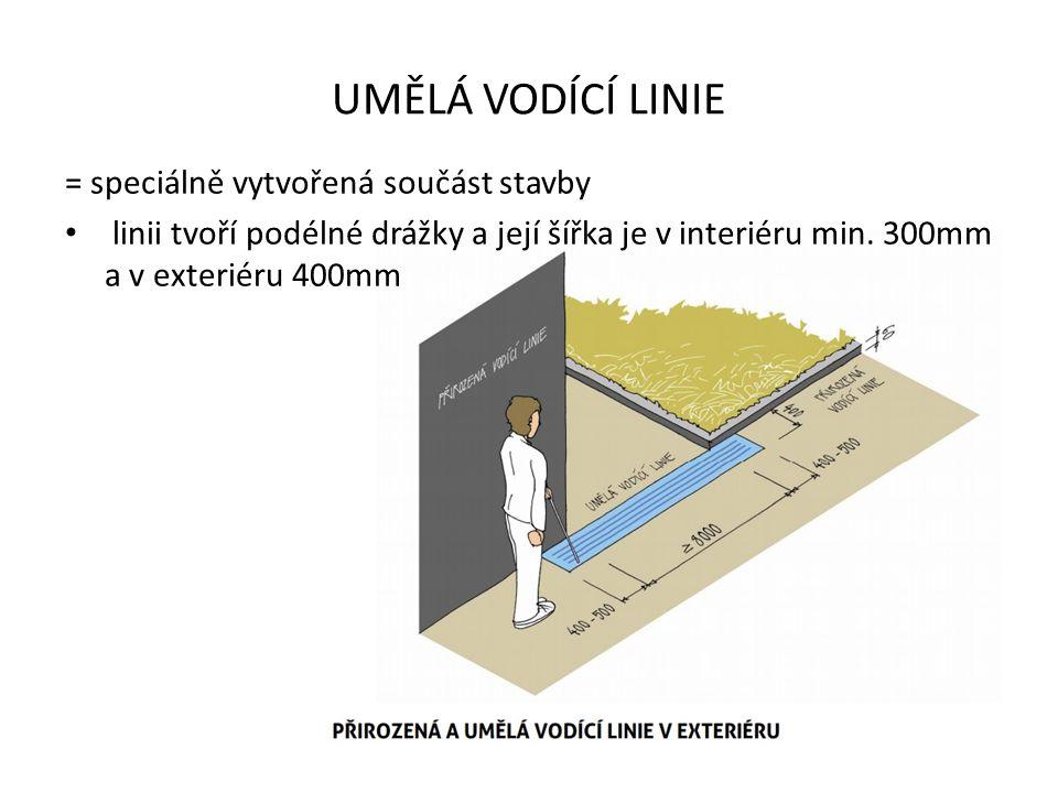 ZVLÁŠTNÍ FORMY UMĚLÉ VODÍCÍ LINIE SIGNÁLNÍ PÁS = označuje místo odbočení z vodicí linie k orientačně důležitému místu, šířka 800-1000 mm, délka min.