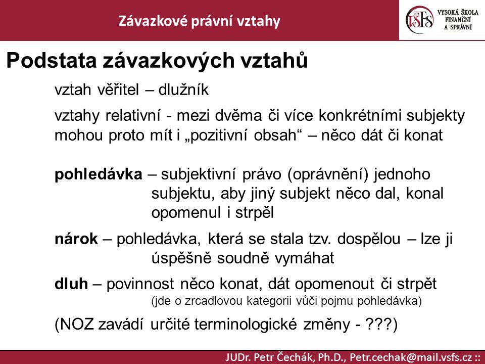 JUDr. Petr Čechák, Ph.D., Petr.cechak@mail.vsfs.cz :: Závazkové právní vztahy Podstata závazkových vztahů vztah věřitel – dlužník vztahy relativní - m