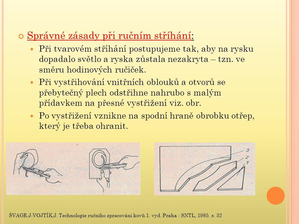 Správné zásady při ručním stříhání: Při tvarovém stříhání postupujeme tak, aby na rysku dopadalo světlo a ryska zůstala nezakryta – tzn.