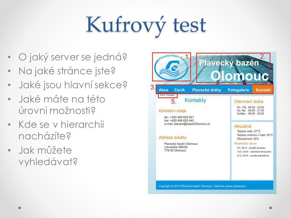 Kufrový test O jaký server se jedná. Na jaké stránce jste.