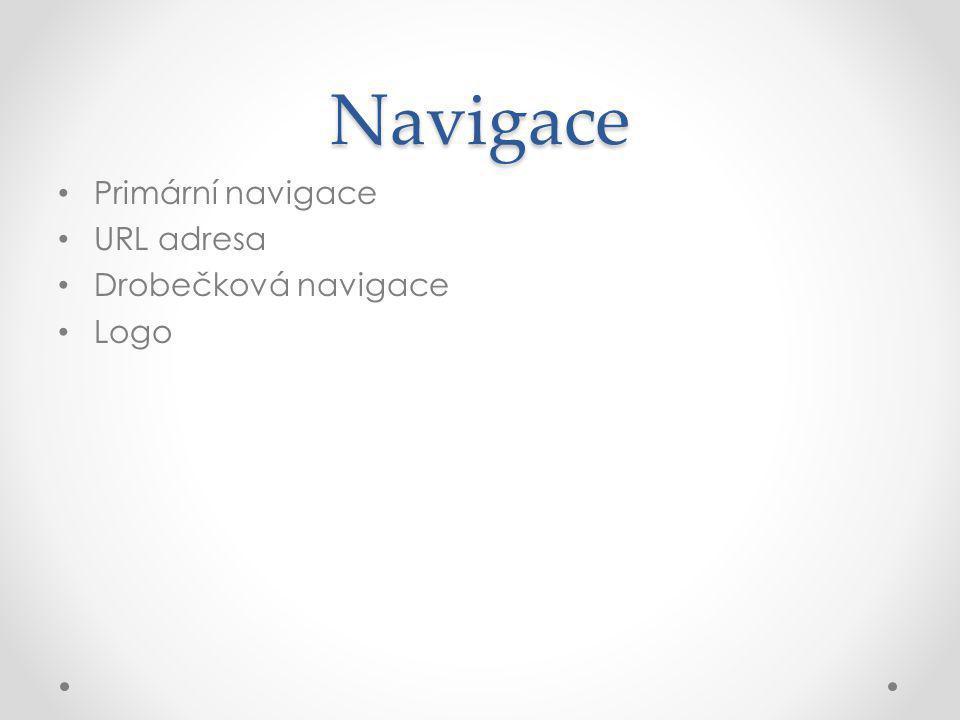 Navigace Primární navigace URL adresa Drobečková navigace Logo