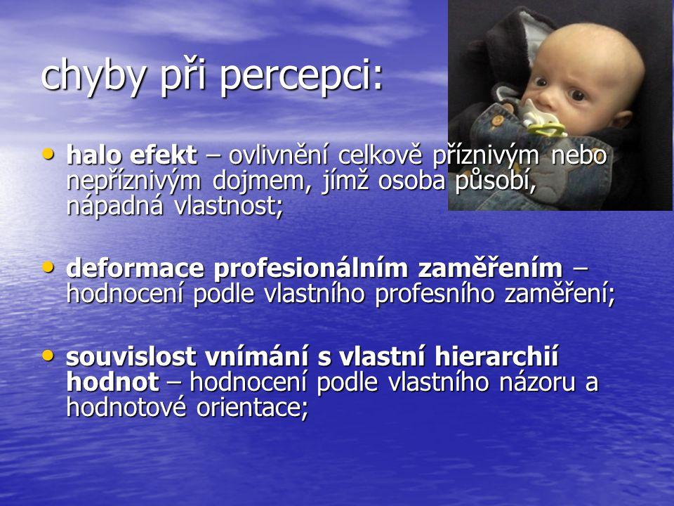 chyby při percepci: halo efekt – ovlivnění celkově příznivým nebo nepříznivým dojmem, jímž osoba působí, nápadná vlastnost; halo efekt – ovlivnění cel