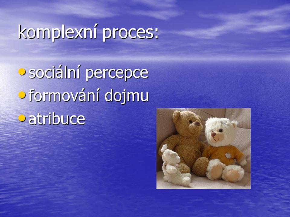 komplexní proces: sociální percepce sociální percepce formování dojmu formování dojmu atribuce atribuce
