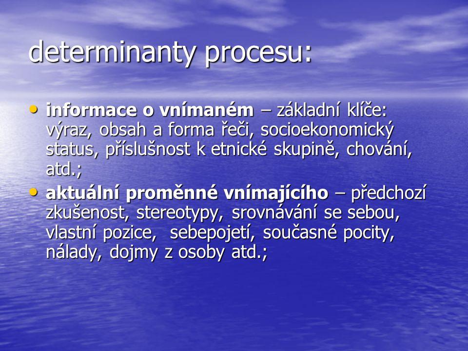 determinanty procesu: informace o vnímaném – základní klíče: výraz, obsah a forma řeči, socioekonomický status, příslušnost k etnické skupině, chování