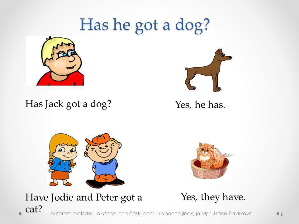 Has Jack got a dog.Has he got a dog. Yes, he has.