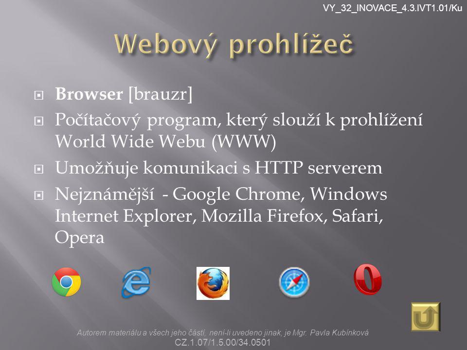 VY_32_INOVACE_4.3.IVT1.01/Ku  Browser [brauzr]  Počítačový program, který slouží k prohlížení World Wide Webu (WWW)  Umožňuje komunikaci s HTTP ser