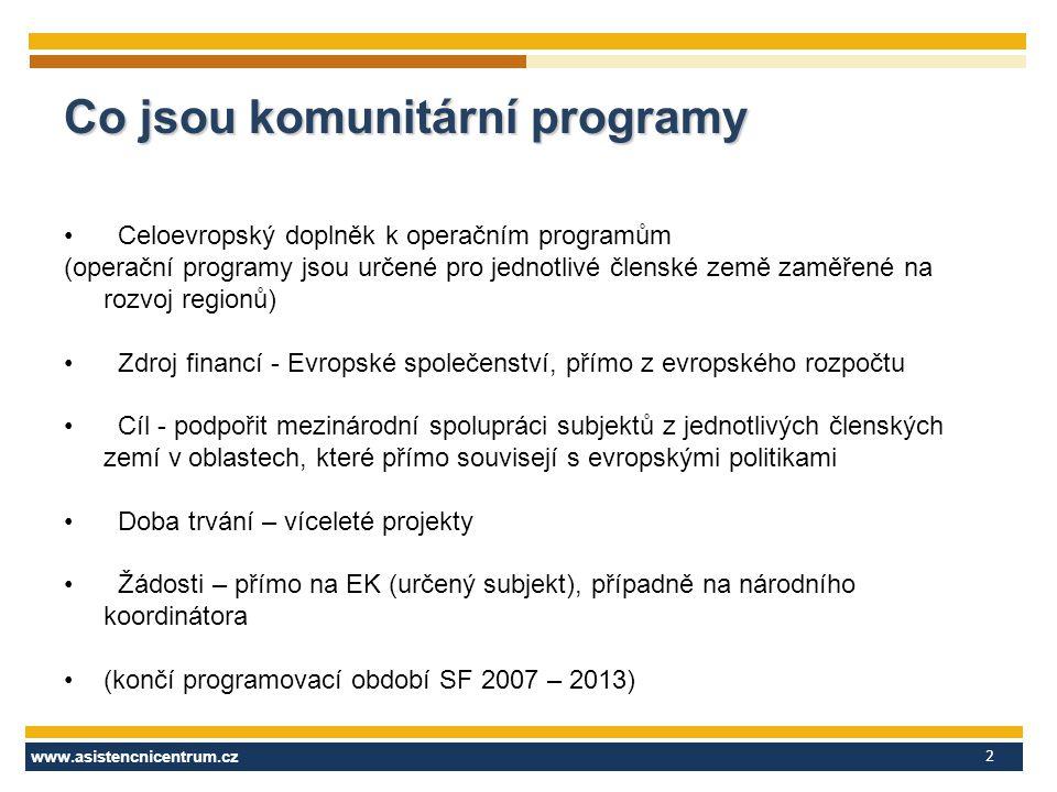 www.asistencnicentrum.cz 2 Co jsou komunitární programy Celoevropský doplněk k operačním programům (operační programy jsou určené pro jednotlivé členské země zaměřené na rozvoj regionů) Zdroj financí - Evropské společenství, přímo z evropského rozpočtu Cíl - podpořit mezinárodní spolupráci subjektů z jednotlivých členských zemí v oblastech, které přímo souvisejí s evropskými politikami Doba trvání – víceleté projekty Žádosti – přímo na EK (určený subjekt), případně na národního koordinátora (končí programovací období SF 2007 – 2013)
