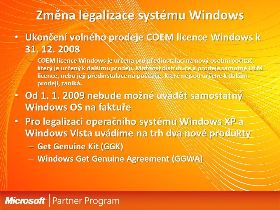 Přehled Get Genuine Kit (GGK)Get Genuine Windows Agreement (GGWA) Produkty: Windows XP Professional Windows Vista Home Basic (od 1.