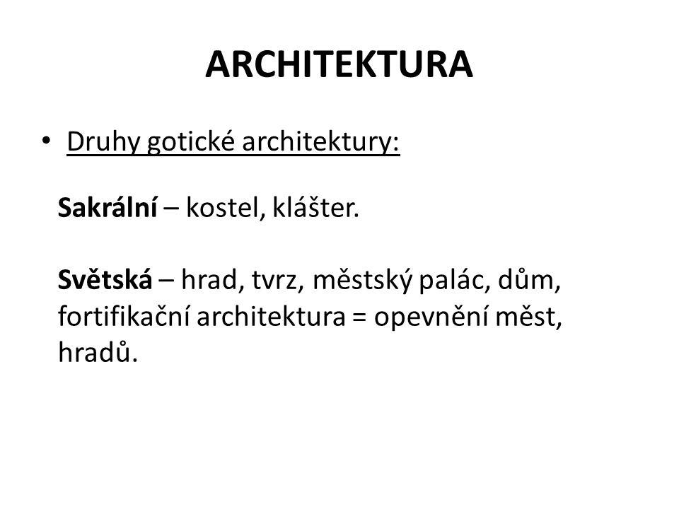 ARCHITEKTURA Druhy gotické architektury: Sakrální – kostel, klášter. Světská – hrad, tvrz, městský palác, dům, fortifikační architektura = opevnění mě