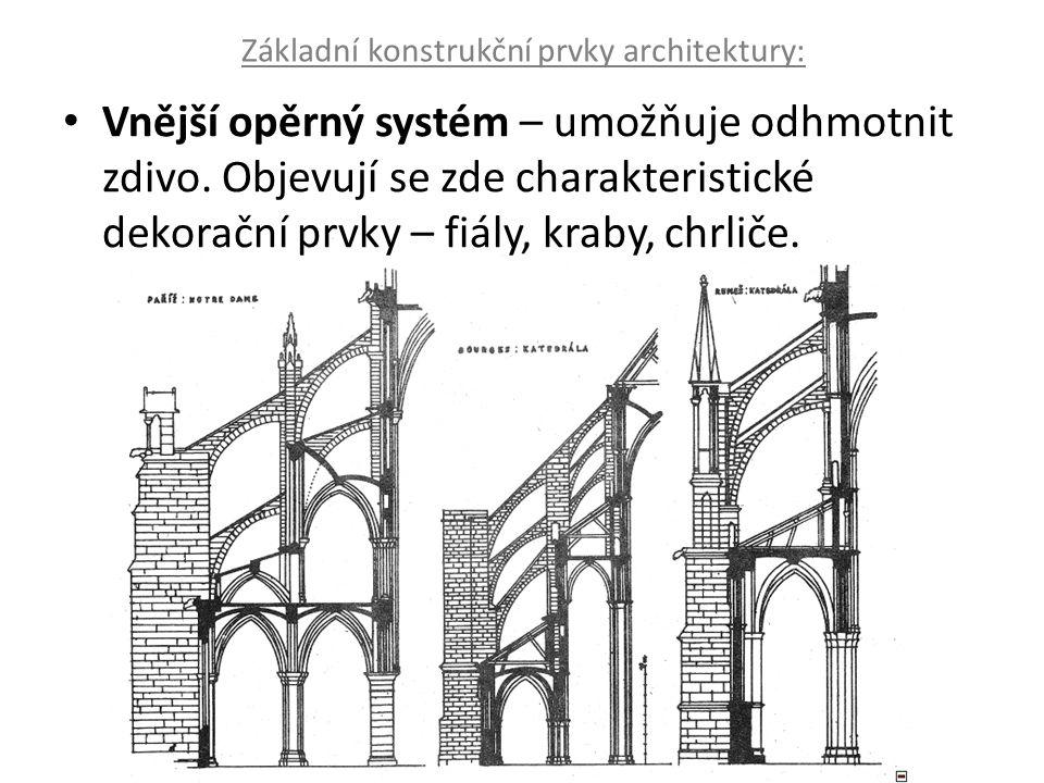 Základní konstrukční prvky architektury: Vnější opěrný systém – umožňuje odhmotnit zdivo. Objevují se zde charakteristické dekorační prvky – fiály, kr