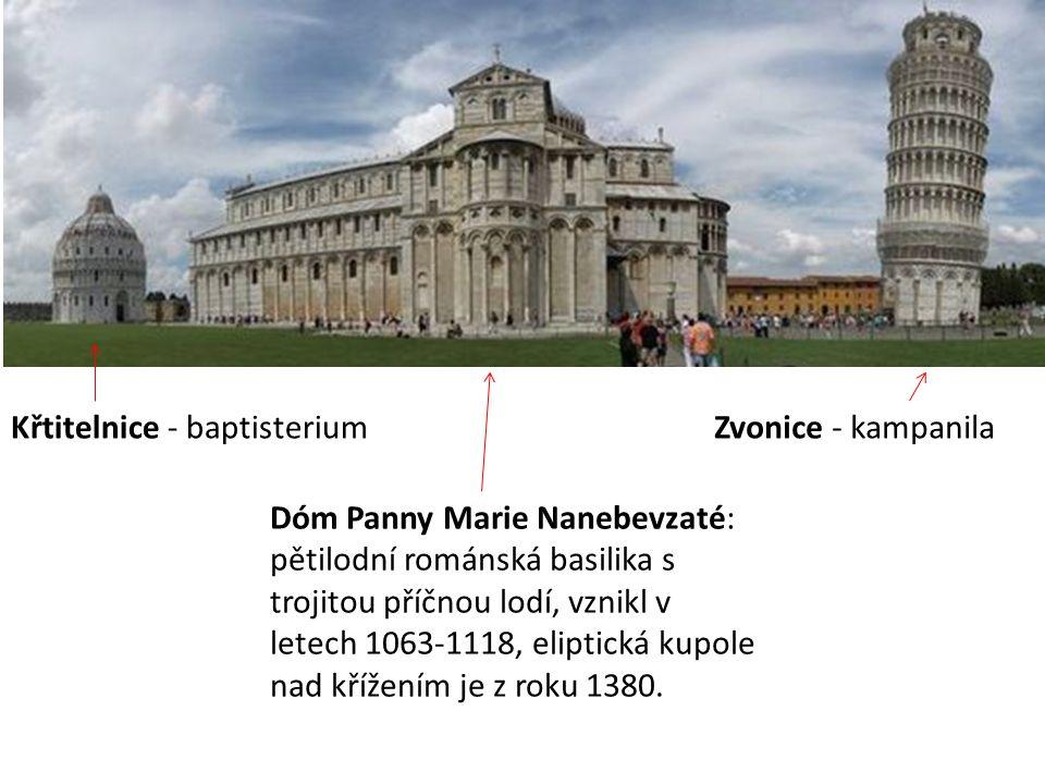 Křtitelnice - baptisterium Dóm Panny Marie Nanebevzaté: pětilodní románská basilika s trojitou příčnou lodí, vznikl v letech 1063-1118, eliptická kupo