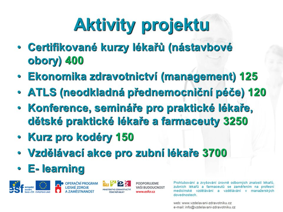 Aktivity projektu Certifikované kurzy lékařů (nástavbové obory) 400Certifikované kurzy lékařů (nástavbové obory) 400 Ekonomika zdravotnictví (management) 125Ekonomika zdravotnictví (management) 125 ATLS (neodkladná přednemocniční péče) 120ATLS (neodkladná přednemocniční péče) 120 Konference, semináře pro praktické lékaře, dětské praktické lékaře a farmaceuty 3250Konference, semináře pro praktické lékaře, dětské praktické lékaře a farmaceuty 3250 Kurz pro kodéry 150Kurz pro kodéry 150 Vzdělávací akce pro zubní lékaře 3700Vzdělávací akce pro zubní lékaře 3700 E- learningE- learning