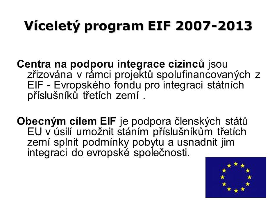 Víceletý program EIF 2007-2013 Centra na podporu integrace cizinců jsou zřizována v rámci projektů spolufinancovaných z EIF - Evropského fondu pro integraci státních příslušníků třetích zemí.