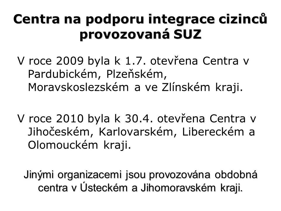 Centra na podporu integrace cizinců provozovaná SUZ V roce 2009 byla k 1.7.