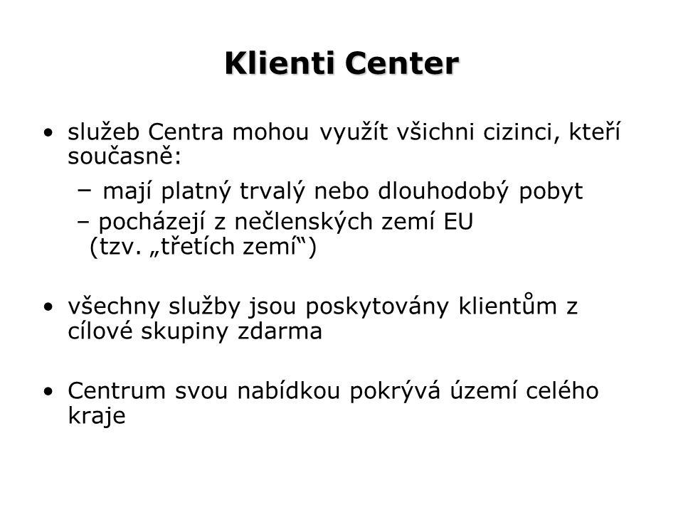 Klienti Center služeb Centra mohou využít všichni cizinci, kteří současně: – mají platný trvalý nebo dlouhodobý pobyt – pocházejí z nečlenských zemí EU (tzv.