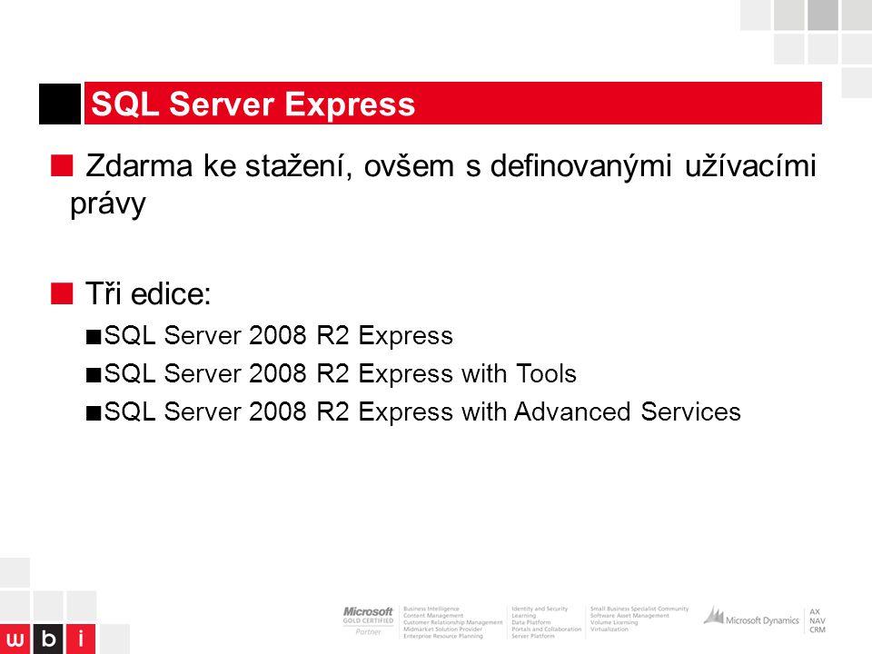 SQL Server Express ■ Zdarma ke stažení, ovšem s definovanými užívacími právy ■ Tři edice: ■ SQL Server 2008 R2 Express ■ SQL Server 2008 R2 Express with Tools ■ SQL Server 2008 R2 Express with Advanced Services