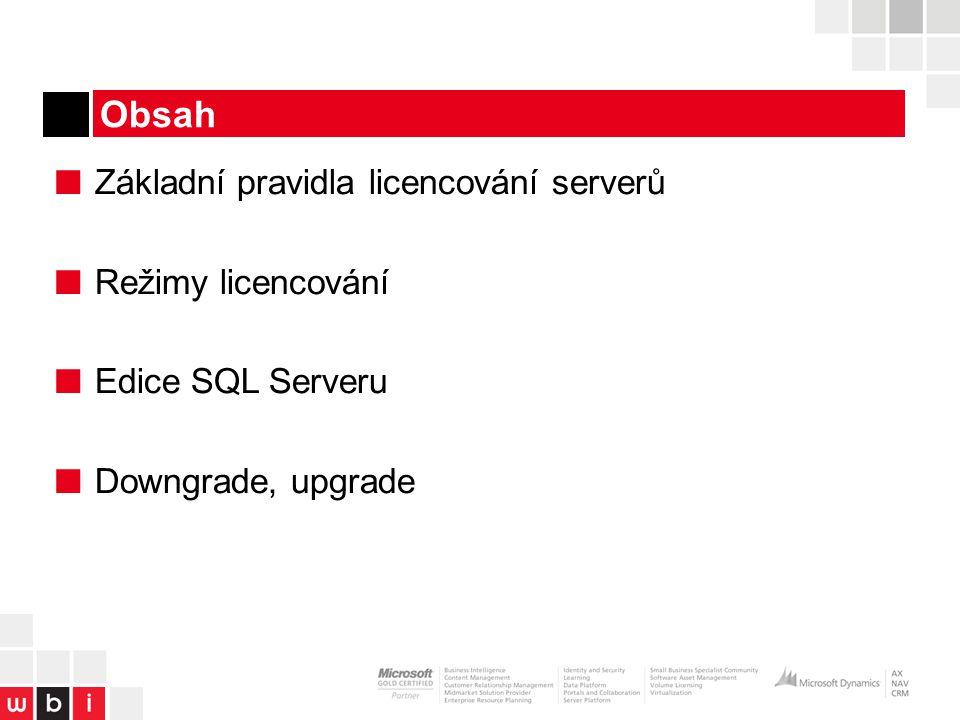 Obsah ■ Základní pravidla licencování serverů ■ Režimy licencování ■ Edice SQL Serveru ■ Downgrade, upgrade