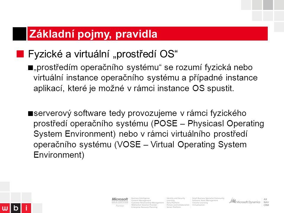 """Základní pojmy, pravidla ■ Fyzické a virtuální """"prostředí OS ■ """"prostředím operačního systému se rozumí fyzická nebo virtuální instance operačního systému a případné instance aplikací, které je možné v rámci instance OS spustit."""