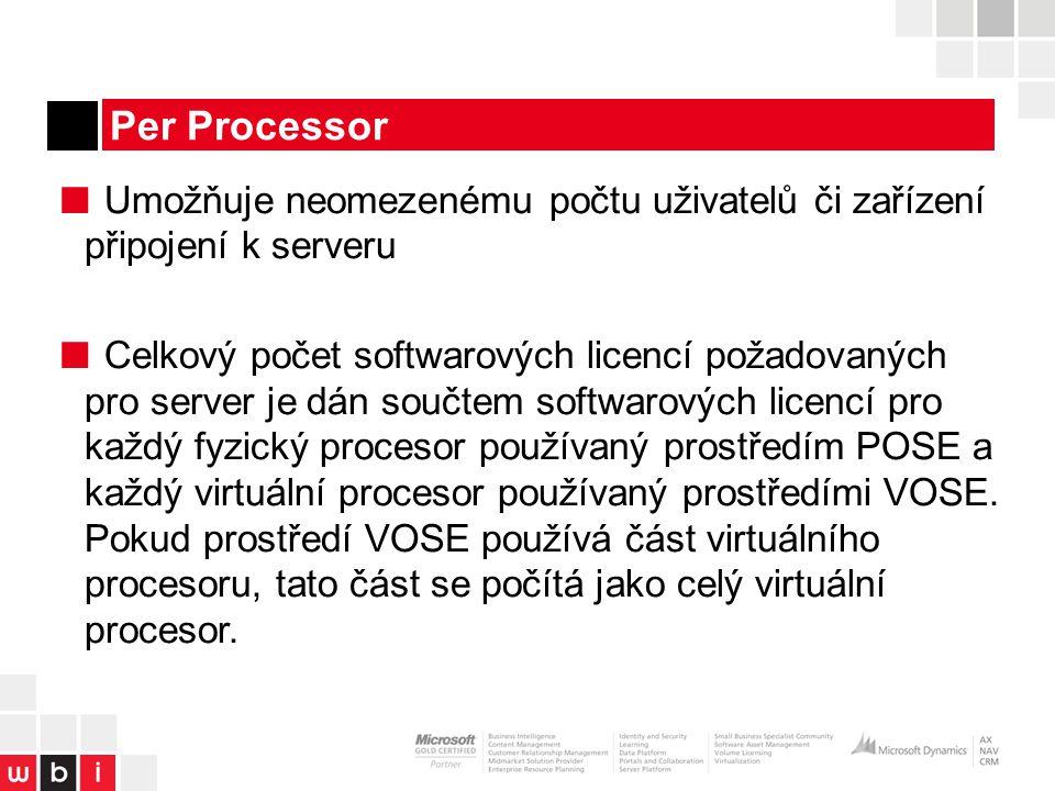 Per Processor ■ Umožňuje neomezenému počtu uživatelů či zařízení připojení k serveru ■ Celkový počet softwarových licencí požadovaných pro server je dán součtem softwarových licencí pro každý fyzický procesor používaný prostředím POSE a každý virtuální procesor používaný prostředími VOSE.