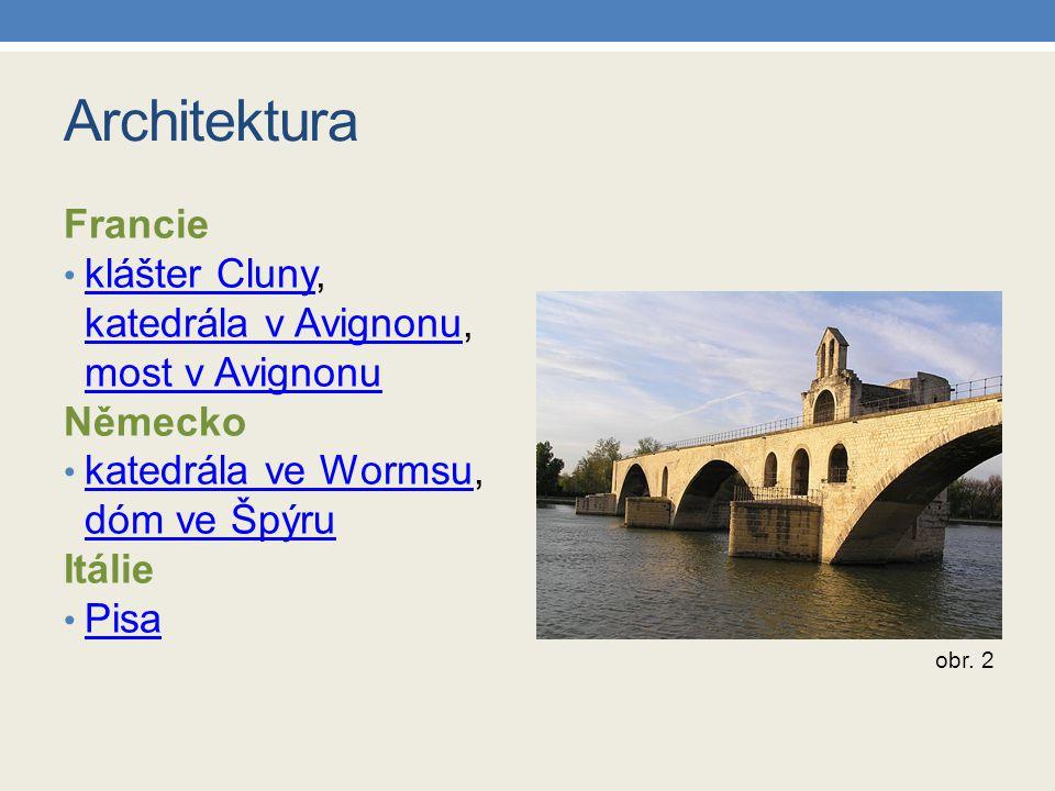 Zápis do sešitu církevní stavby: rotunda –kruhový půdorys, půlkruhový přístavek pro oltář (apsida) bazilika –obdélníkový půdorys, dvě věže klášter – soubor budov s bazilikou a apsidami světské stavby: hrady – masivní věž, opevnění tvrze – menší opevněná sídla kupecké domy, šlechtické dvorce mosty Francie – katedrála a most v Avignonu Německo – dóm ve Špýru Itálie – Pisa