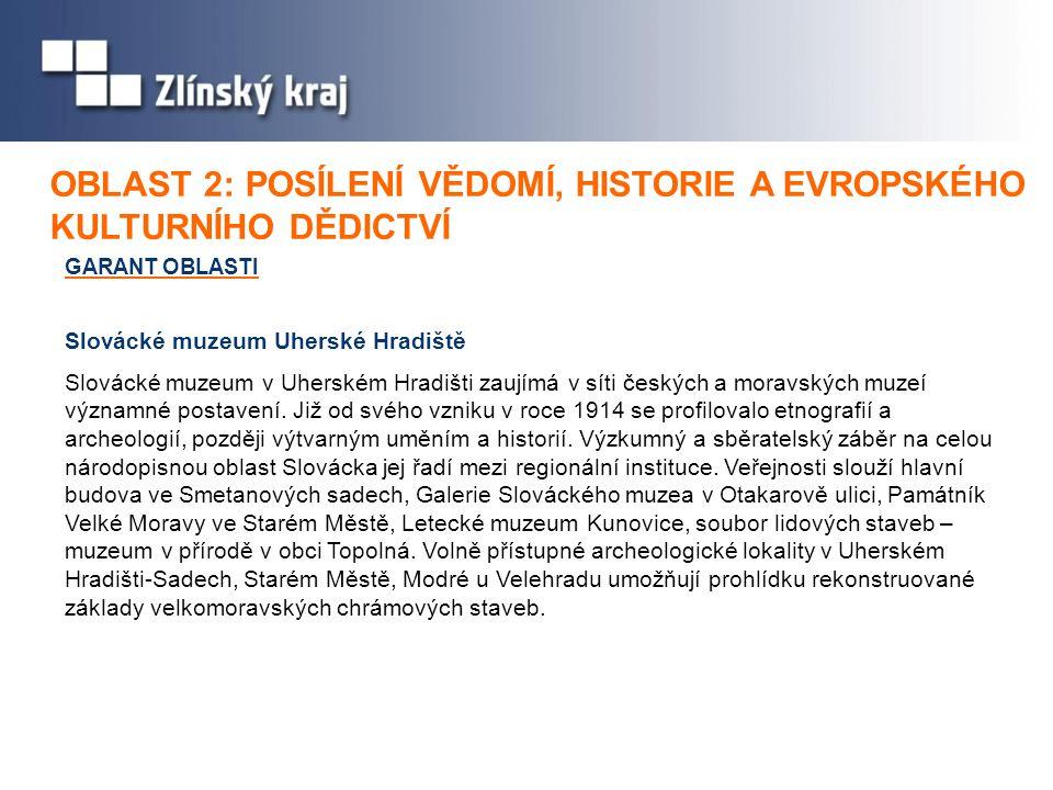 GARANT OBLASTI Slovácké muzeum Uherské Hradiště OBLAST 2: OBLAST 2: POSÍLENÍ VĚDOMÍ, HISTORIE A EVROPSKÉHO KULTURNÍHO DĚDICTVÍ Slovácké muzeum v Uhers