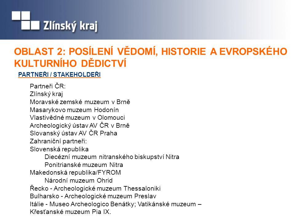 PARTNEŘI / STAKEHOLDEŘI OBLAST 2: OBLAST 2: POSÍLENÍ VĚDOMÍ, HISTORIE A EVROPSKÉHO KULTURNÍHO DĚDICTVÍ Partneři ČR: Zlínský kraj Moravské zemské muzeu