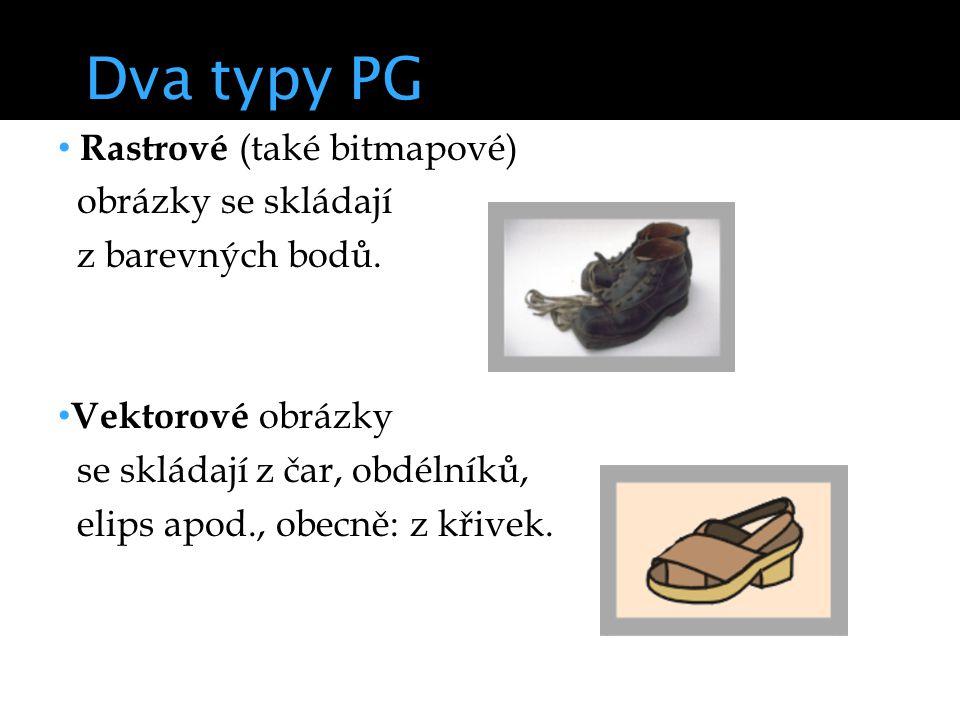 Dva typy PG Rastrové (také bitmapové) obrázky se skládají z barevných bodů.