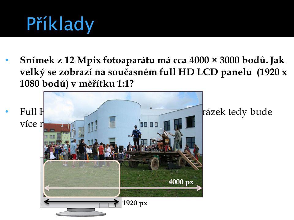 P ř íklady Snímek z 12 Mpix fotoaparátu má cca 4000 × 3000 bodů.